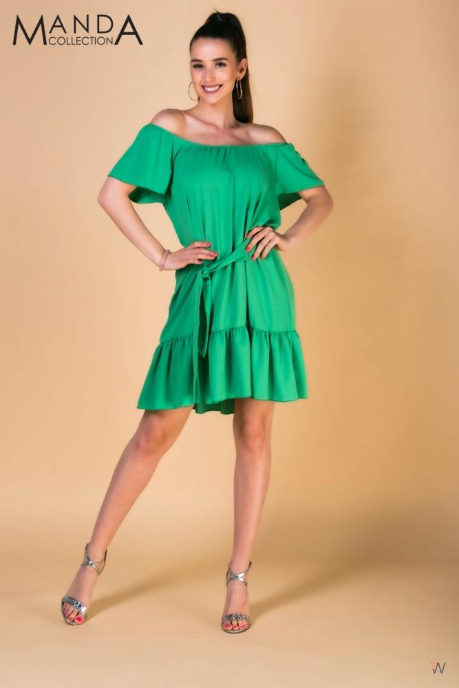 Zöld fodros ruha