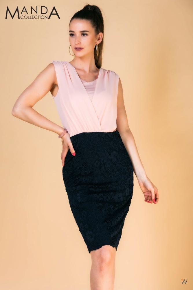 Púderrózsaszín-sötétkék alkalmi ruha