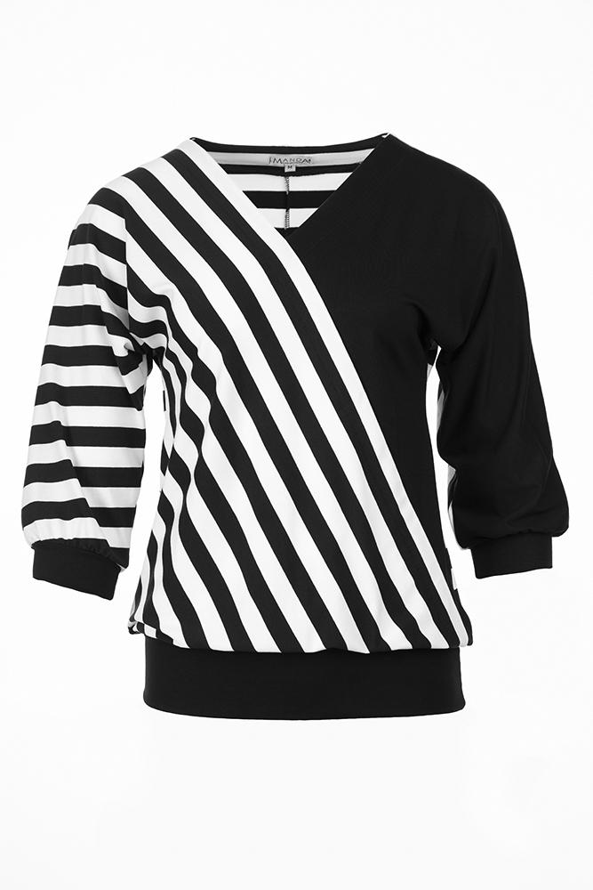 Ferde szabásvonalú fekete póló